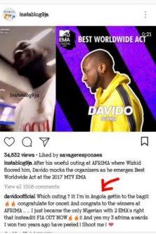 Davido Shades AFRIMA After Winning 2 MTV EMA Awards || WATCH