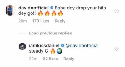 Baby Dey Drop Your Hits Dey Go – Davido Stands With Kiss Daniel