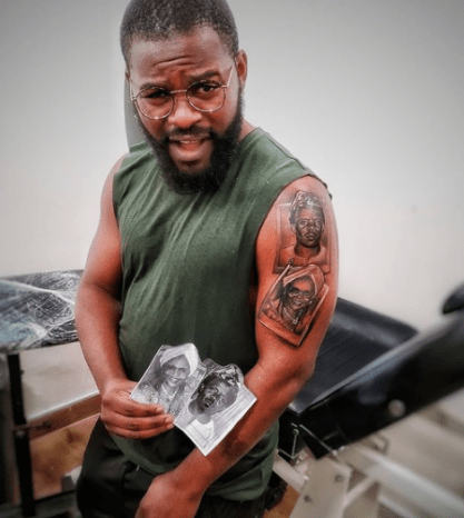Falz Tattoos Entire Family On His Arm 4