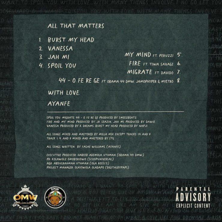 "[EP] Ayanfe – ""All That Matters"" EP ft. Tiwa Savage… 20"