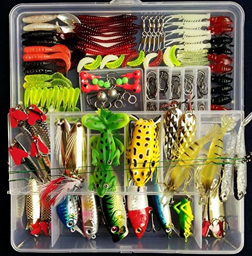 Fishing Tackle Set,  Portable Fun® Fishing Baits Kit Lots With Free Tackle Box,For Freshwater Trout Bass Salmon