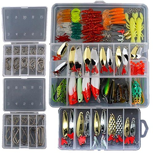 Smartonly 1 Set 226 Pcs Fishing Lure Tackle Kit Bionic Bass Trout Salmon Pike Fishing Lure Frog Minnow Popper Pencil Crank Soft Hard Bait Fishing Lure Metal Spoon Jig Lure with Fishing Tackle Box