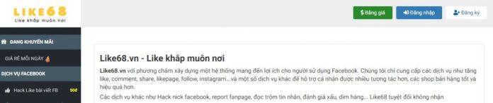 Dịch vụ tăng like Facebook Like68