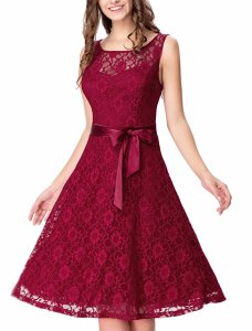 Noctflos Women's Sleeveless Lace Bow Cocktail Wedding Party Fit-and-Flare Dress