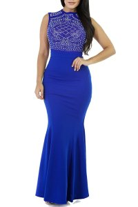 CoCo Fashion Women's Long Fitted Beading Sleeveless Mermaid Evening Gown Dress