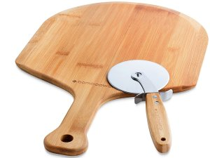 BambooWorx Pizza Making Set, Bamboo Pizza Peel - Pizza cutter