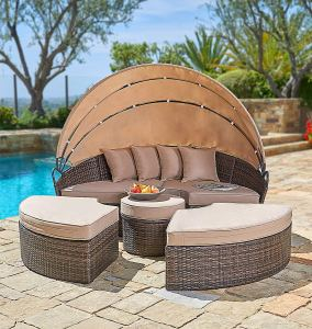 Suncrown Outdoor Furniture Wicker Daybed with Retractable Canopy