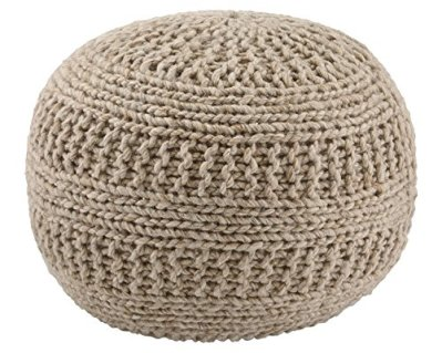 Ashley Furniture Signature Design - Benedict Pouf - Comfortable Ottoman & Footrest - Handmade Rib Knit - Natural