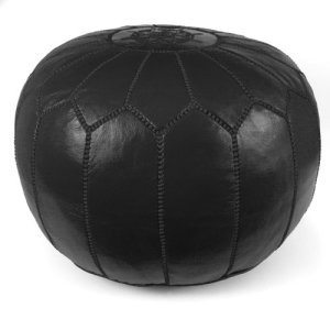 IKRAM DESIGN Moroccan Pouf, Black, 20-Inch by 13-Inch