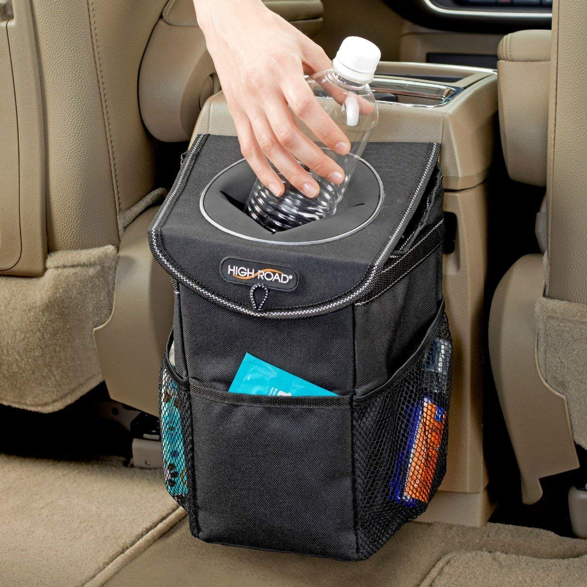 Auto Car Trash Can, Auto Litter Bag, Auto Garbage Bin, Car Trash Pail, Great for Cars, Boats /& RVs Leakproof and Removable Liner-Black