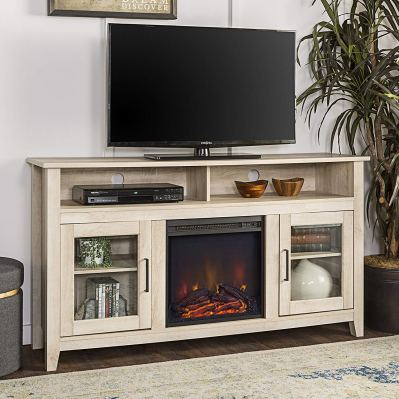 WE Furniture 58 Wood Highboy Fireplace Media TV Stand Console