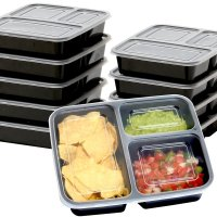1. SimpleHouseware 10 Pack 3 Compartment Reusable Meal Prep Food Storage Container