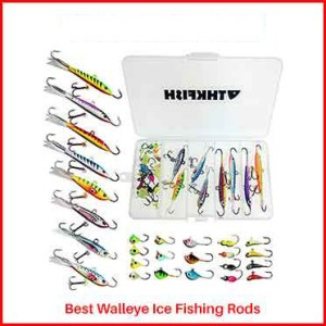 THKFISH Ice Fishing Jigs for Walleye Ice Fishing Rods