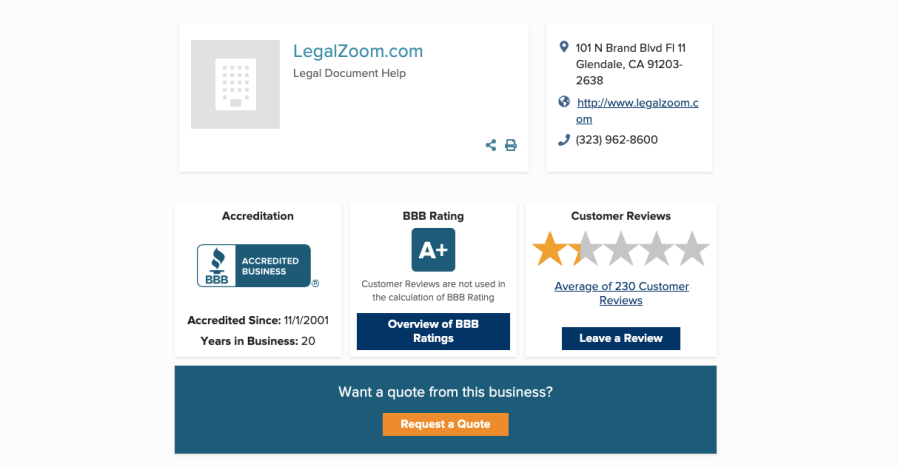 Legalzoom Better Business Bureau Reviews