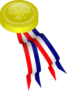 Gold Medal with red, white and blue ribbon