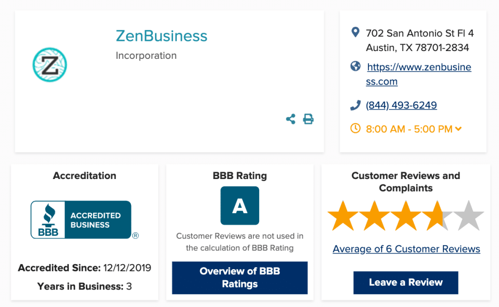 ZenBusiness Bettr Business Bureau Rating and Reviews