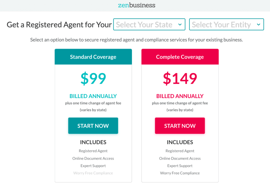 ZenBusiness registered Agent Service Prices