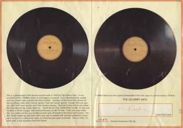 The Quarrymen That ll Be The Day In Spite Of All The Danger 2 entre os discos de vinil mais valiosos de todos os tempos