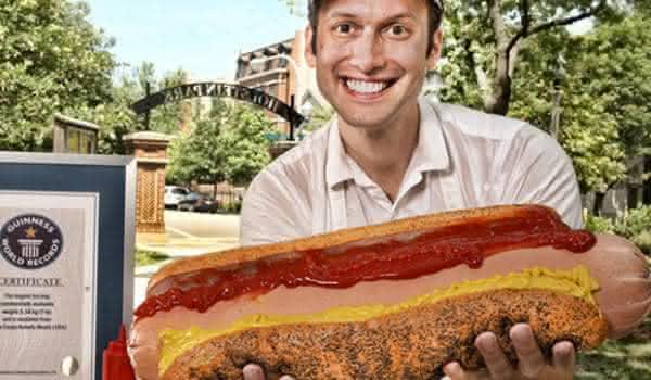 maior cachorro quente entre os maiores alimentos do mundo