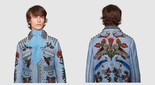 Embroidered leather jacket by Gucci entre as jaquetas mais caras do mundo