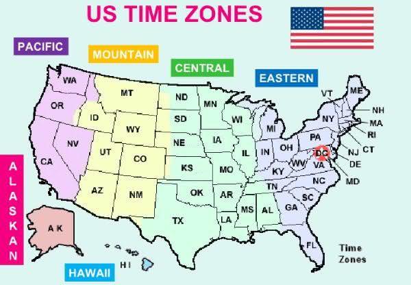 estados unidos entre os paises com maior numero de fusos horarios do mundo