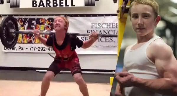 Jake Schellenschlager entre as crianças mais fortes do mundo