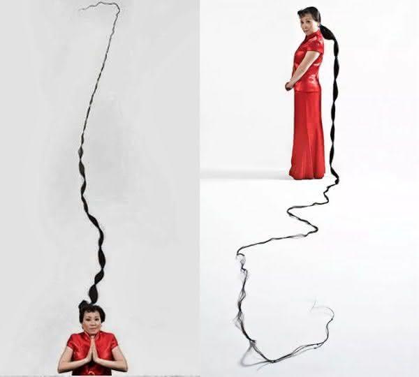 Xie Qiuping entre os cabelos mais longos do mundo