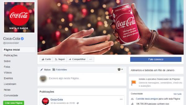 coca cola entre as paginas mais populares do facebook