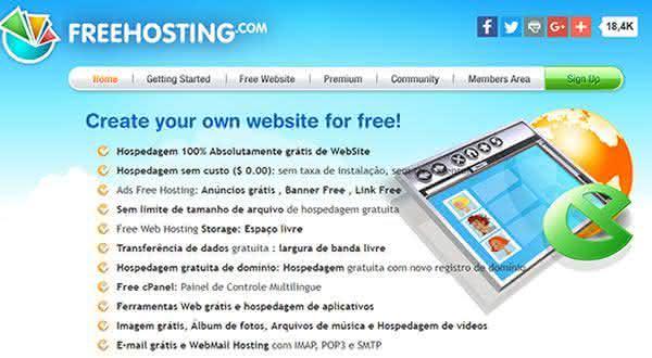 freehosting entre os melhores sites para criar um site ou blog de graca
