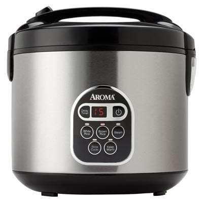 Aroma-20-Cup-Cooked-(10-cup-uncooked)-Digital-Rice-Cooker,-Slow-Cooker,-Food-Steamer,-SS-Exterior