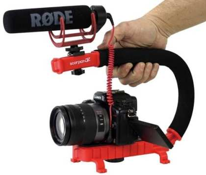 Cam-Caddie-0CC-0100-RED-Scorpion-JR-Video-Camera-Stabilizer-Handle-for-Nikon-Canon-Sony-(Red)