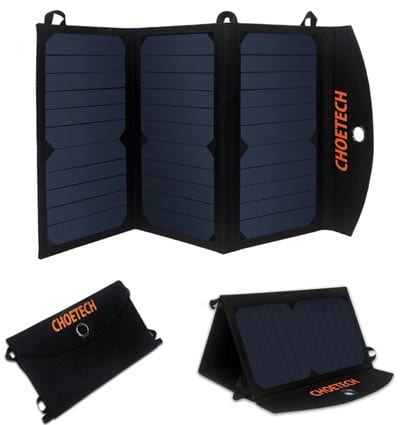 Light-Weight-Portable-Solar-Charger-CHOE(19W-Dual-Port-USB-Solar-Panel-Charger)