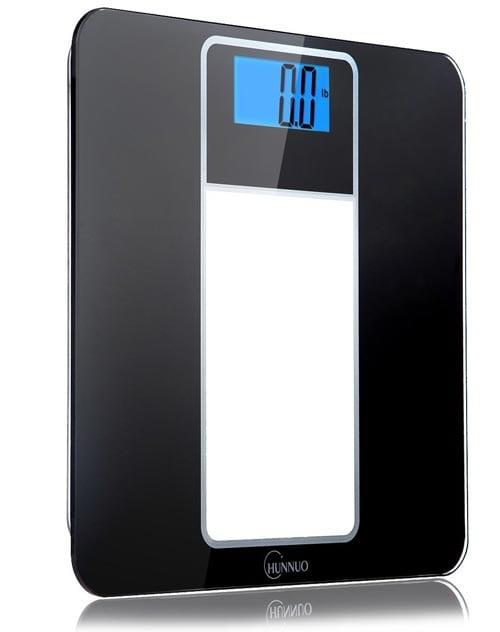 Chunnuo-High-Accuracy-Digital-Body-Weight-Bathroom-Scale-With-Light-Blue-Display,-Sleek-Tempered-Glass