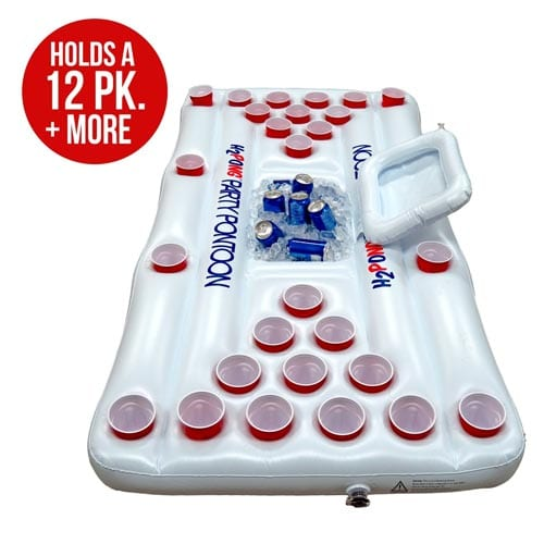 H2PONG-Inflatable-Beer-Pong-Table-with-Built-In-Cooler,-Includes-5-Ping-Pong-Balls---Floating-Pool-Party-Game-Raft-and-Lounge