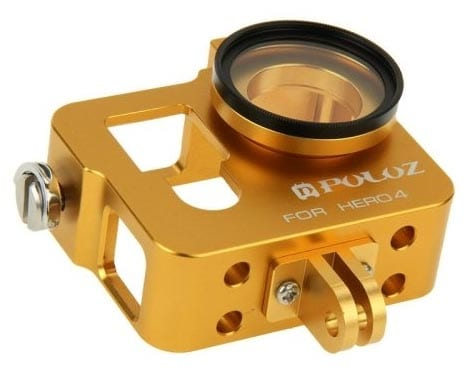PULUZ-Housing-Shell-CNC-Aluminum-Frame-Case-Alloy-Protective-Cage-with-37mm-UV-Lens-Filter--Lens-Cap-for-GoPro-HERO-4(Gold)
