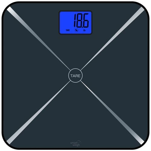 Smart-Weigh-Smart-Tare-Digital-Body-Weight-Bathroom-Scale-with-Baby-or-Pet-Tare-Weighing-Technology,-Large-LCD-Display-and-Tempered-Glass-Platform