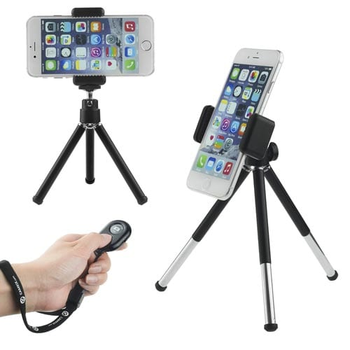Camkix-Universal-Adjustable-Tripod-+-Bluetooth-Remote---including-Tripod---Universal-Phone-Holder--Velvet-Phone-Bag--Microfiber-Cleaning-Cloth---Suitable-for-iPhone,-Samsung-and-Most-Other-Phones