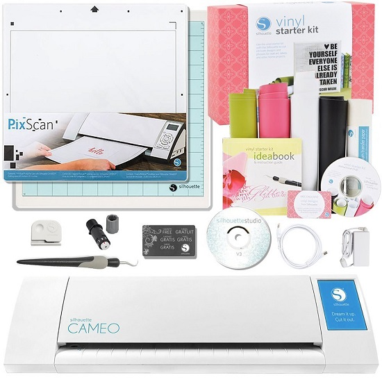 Silhouette CAMEO Vinyl Starter Kit Bundle with PixScan Cutting Mat, White