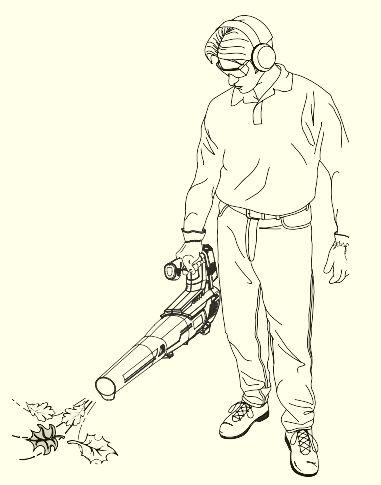 proper holding position of leaf blower