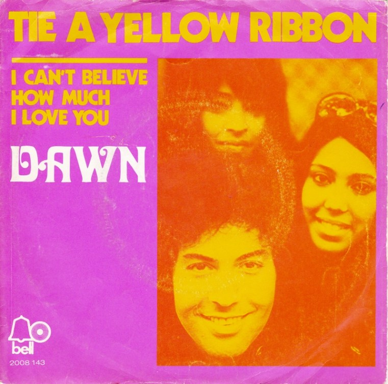 TIE A YELLOW RIBBON ROUND THE OLE OAK TREE - Dawn Featuring Tony Orlando record cover