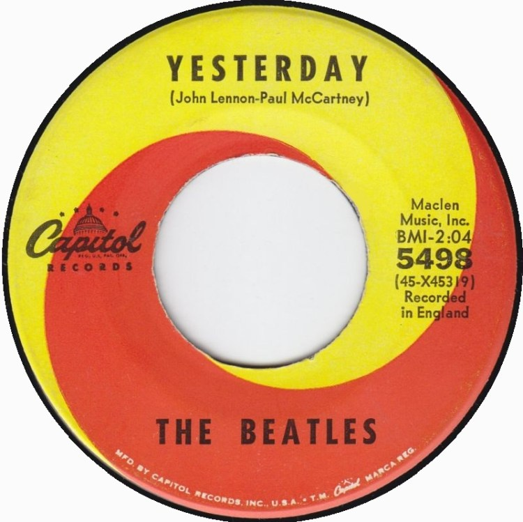 The Beatles - Yesterday 7-inch label