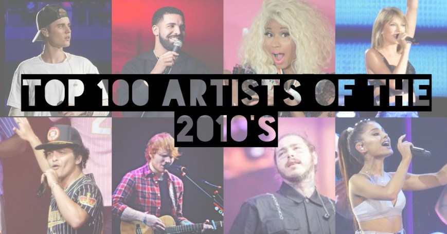 Collage of artists from the 2010s