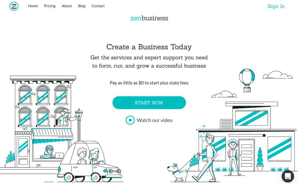 ZenBusiness website home page