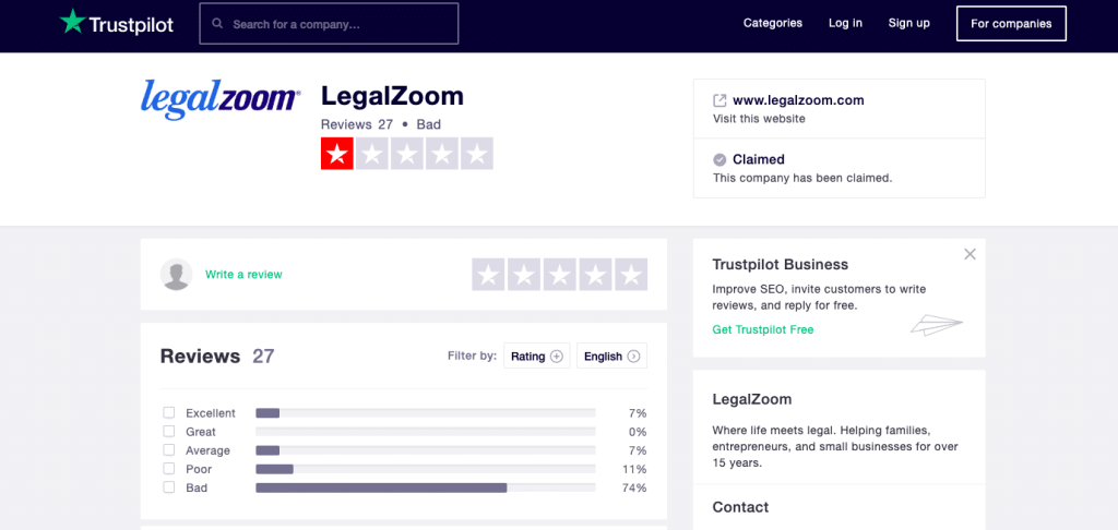 Legalzoom Trustpilot Reviews Secptember 2019