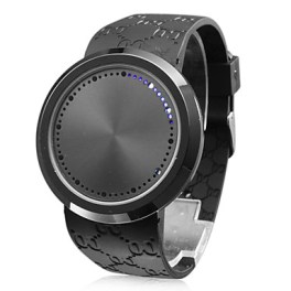 men's watch toucj screen blue led flashing silicone strap