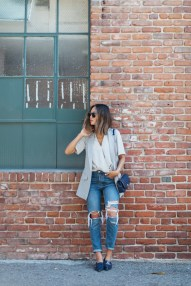 aimee_song_of_style_topshop_drape_blouse_sleeveless_jacket_vest_boyfriend_ripped_jeans_jean_kurve_navy_blue_pointy_croc_flats_super_sunglasses_chanel_vintage