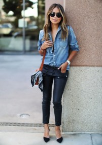 denim shirt and heels