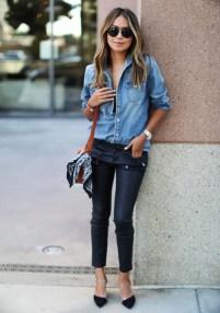 denim shirt and heels