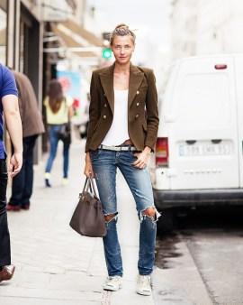 jeans, leather jackey, olive blazer