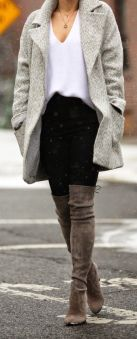 oversized grey long wool coat with v neck sweater